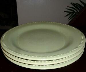 "3 POTTERY BARN 'Emma Green' 11¼"" DINNER PLATES Beaded Rim: Designed by B. Eigen"
