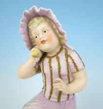 """Heubach Large 12"""" Bisque Shell Girl Figurine Piano Baby Antique German Porcelain"""