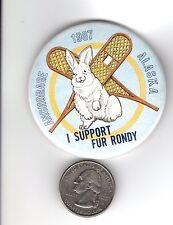 1987 ALASKA FUR RENDEZVOUS (I SUPPORT FUR RONDY) BOOSTER PIN-MICHIGAN DEER PATCH