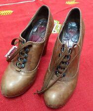 Brown Chloe Silverado Platform Leather Shoes Sz 38.5 RARE Booties Heels