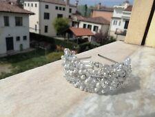 Diadema Sposa Tiara Nuziale Fatto A Mano Con Pietre Swarovski,Perle E Cristalli