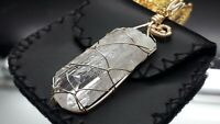DANBURITE ANGEL AURA CRYSTAL PENDANT, HANDCRAFTED. Chain included