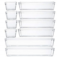 Backerysupply Clear Plastic Drawer Organizer Tray for Vanity Cabinet (Set of