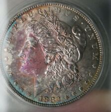 1882 morgan silver Dollar - ICG MS 66, Rainbow toning Obverse 3473
