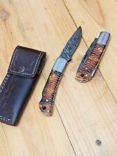 MH Knives HandMade Damascus Folding /Pocket Knife Buffalo Bone Croco Scales MH-5