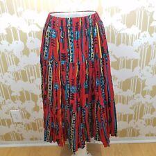 Vintage Handmade One Size Southwestern Turquoise Full Circle Skirt Pleated