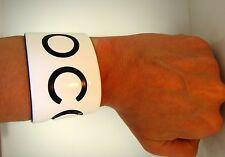 """Authentic Chanel Wide Bangle Cuff Bracelet Black White Plastic COCO CC Logo 5.5"""""""