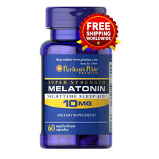 Puritan's Pride Melatonin 10 mg Night Time Sleep Aid 60 Capsules Free Shipping