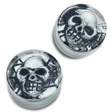 W/ Ancient Aztec Skull Design Acrylic Double Flared Reversable Clear Plug