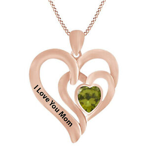Green Peridot I Love You MOM Double Heart Pendant Necklace 14K Rose Gold Over