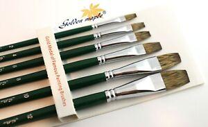WATERCOLOUR Paint Brushes Set Professional  6PCS OIL ACRYLIC artist Filbert Flat