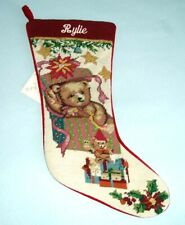 Sferra Handmade Teddy Bear Needlepoint Stocking Monogrammed Rylie Handmade New