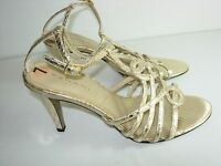 WOMENS GOLD T STRAP ANKLE SANDALS COMFORT STRAPPY WEDDING HEELS SHOES SIZE 7 M