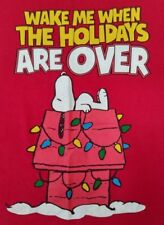 SNOOPY WAKE ME WHEN THE HOLIDAYS ARE OVER Peanuts by Schultz Red T-Shirt Adult's