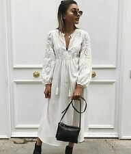 ZARA BEIGE EMBROIDERED LONG DRESS Size XS REF 6895/044 SS/17 BLOGGERS FAVORITE