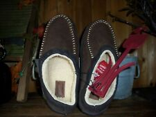 LEVI STRAUSS MENS SLIPPERS SHOES SIZE 9-10 BROWN FUR LINING RUBBER SOLE HOUSE