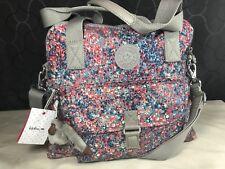 $114 Kipling Pahneiro Fainted Floral Red Beige Shoulder Hobo Tote Crossbody Bag