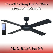 Fias Genesis 52 inch (1300mm) Matt Black Ceiling Fan and Black Touch Pad Remote