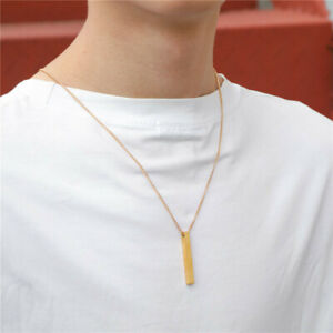 3 Color Men's Rectangle Pendant Necklaces Stainless Steel Chain Necklace Jewelry
