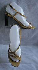 WOMENS DEBUT BEIGE SYNTHETIC  BLOCK HIGH HEEL ANKLE STRAPSANDALS SIZE:5/38(WS32)