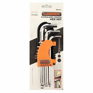 NEW 9 Piece Hex Key Set 1.5mm-10mm Metric Ball End CR-V Allen Driver Wrench Tool
