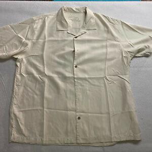 Tommy Bahama Dirty Birdie Martini Biege Button Up Shirt Size XL 100% Silk