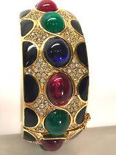 Vintage CINER Crystal-Pave Ruby Emerald Sapphire Cabochon Glass Stones Bracelet