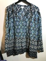 j jill womens blue boho paisely long sleeve tunic shirt top size medium