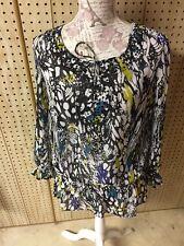 Fashion Bug Sheer Sequin White Yellow Black Sheer Women's Blouse Shirt Top M