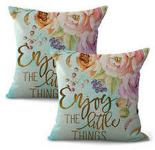 US Seller- set of 2 replacement enjoy the little things flower cushion cover