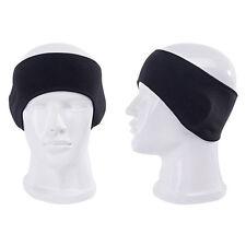 Black Unisex Ear Warm WInter Headband Polar Fleece Ski Stretch Hat Hairband POP