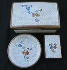 Vtg White Chinese Cloisonne Enamel Floral Cigarette Box, Ashtray, Matches Holder