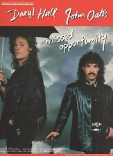 Hall & Oates Missed Opportunity Sheet Music-Piano/Vocal/Guitar- 1988-Rare-New!