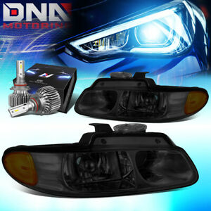FOR 1996-1999 CHRYSLER TOWN OE STYLE HEADLIGHT LAMP W/LED KIT SLIM STYLE SMOKED