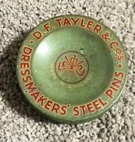 Vintage 50's D.F. Tayler Dress Makers Steel Pins: Green Metal Tin