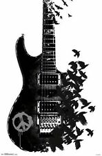 GUITAR - CROW COLLAGE POSTER - 22x34 MUSIC - 14483