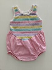 Buster Brown Baby Girl rainbow Romper 6-9 Months retro Vintage