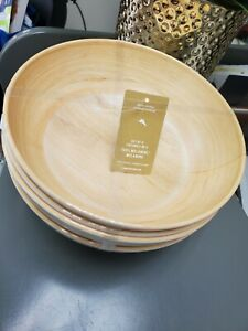 "🌴Tommy Bahama Melamine Light Wood Grain Set of 4 BOWLS Soup/Pasta 7 3/8"" NEW!"
