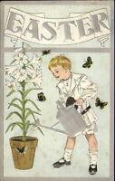 Easter - Boy Watering Lily Flower - Butterflies c1910 Postcard