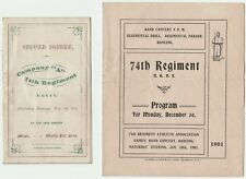 RARE- 1870 & 1901  Programs - 74th NY Civil War Regiment  Buffalo New York GAR