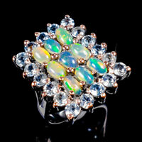 Beauty Rainbow5x3mm Natural Opal 925 Sterling Silver Ring Size 8/R125200