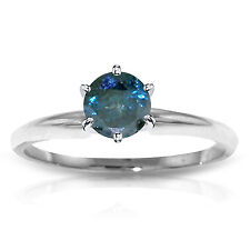 Platinum Plated 925 Sterling Silver Solitaire Ring, 0.50 ct Natural Blue Diamond