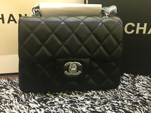 Classic Quilted MINI SQUARE Black Lambskin Silver Hardware Flap Bag