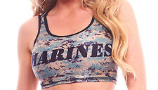BodyZone Apparel Marines Print Camouflage Crop Top. O/S. PA118. Made in the USA.