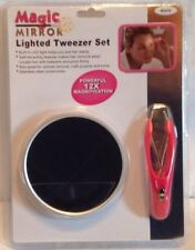 Magic Mirror Lighted Tweezer Set Powerful 12x Magnifying Mirror
