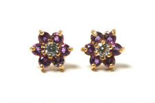 9ct Gold Amethyst and CZ cluster Stud earrings Gift Boxed Made in UK