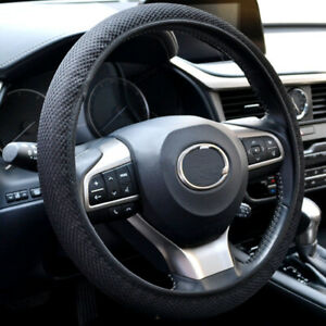 "13""-15"" Soft Mesh Car Steering Wheel Cover Anti-static Non-slip Black Summer GA"