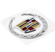 Rear Grille 4 In Emblem Silver Crest Wreath Badge For 07 - 13 Cadillac Escalade
