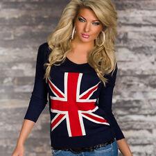 Women's British Flag Sweater Knitted Jumper Long Sleeve T-shirts Sweatshirt Tops
