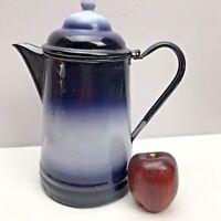 Vintage Enamle Coffee Kettle Pot Cobalt Blue Ombre Large Attached Lid Gorgeous X